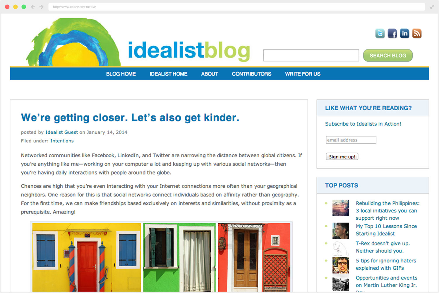 Idealist.org web design
